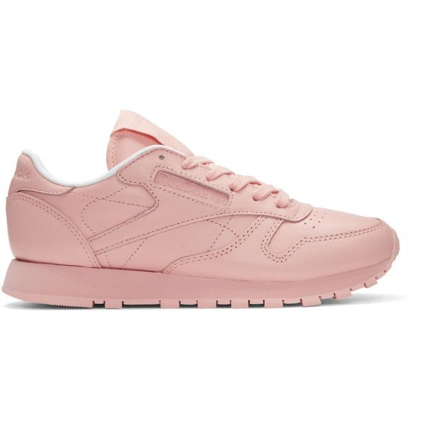 Reebok Classics Pink Classic Leather Pastels Sneakers (£51) ❤ liked on Polyvore featuring shoes, sneakers, lace up shoes, reebok shoes, perforated leather shoes, reebok sneakers and pastel pink sneakers