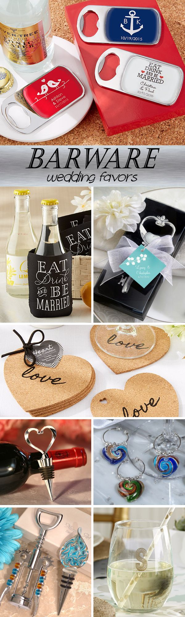 100 Barware Wedding Favor Ideas....coasters, bottle openers, wine stoppers, wine glass charms and more!