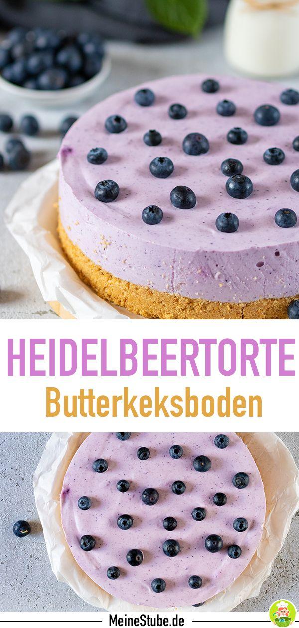 Heidelbeer Torte Mit Butterkeksboden Ohne Backen Meinestube Rezept In 2020 Heidelbeertorte Kuchen Und Torten Rezepte Butterkeksboden