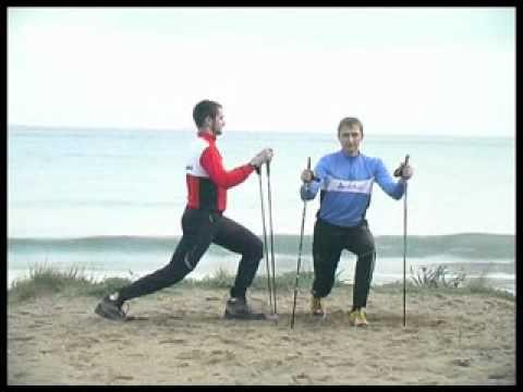étirement musculaire en Nordic Walking Echauffements, étirements, streching et assouplissement avec les bâtons de marche nordique.