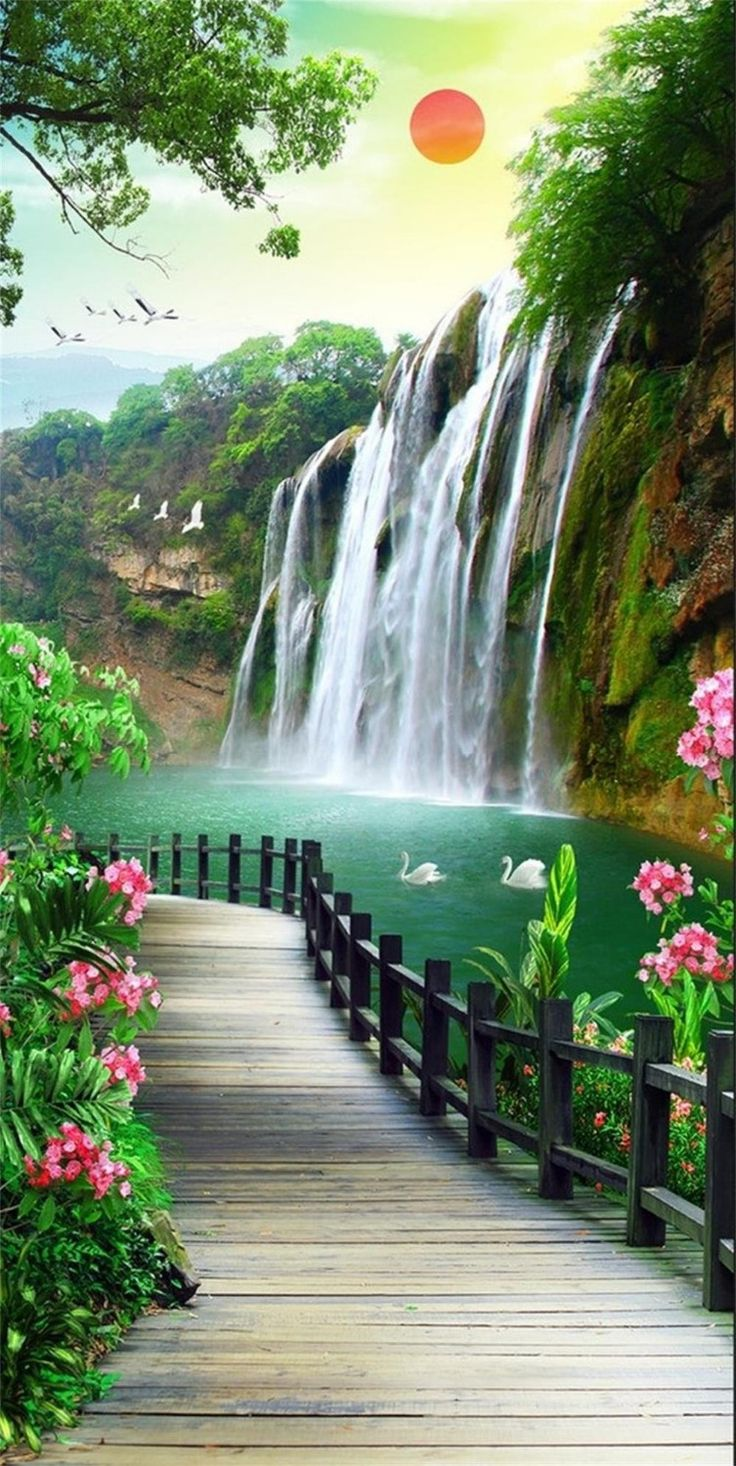 My Wallpapers Corner Best Far Waterfall Scenery Wallpaper