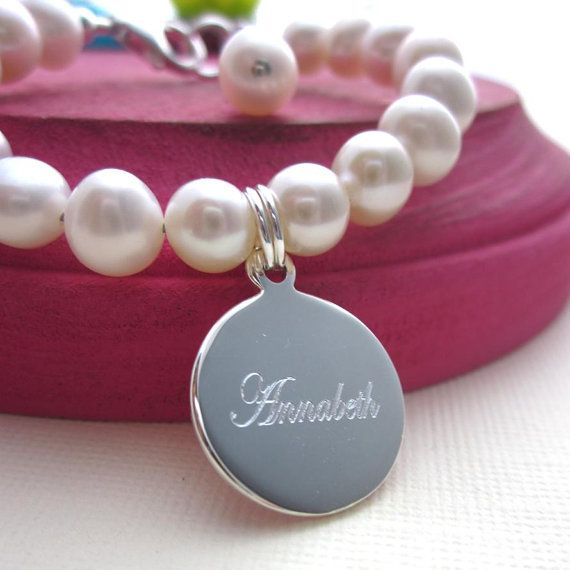 Real Freshwater Pearl Baby Child Kids Bracelet with Sterling Silver Personalized Engraved Charm Baptism Gift Flower Girl Christening Custom on Etsy, $35.00