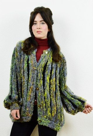 Amazing+90s+fuzzy+boucle+knit+bubble+cardigan