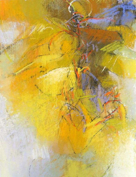 Yellow Abstraction in pastel by Debora L.Stewart