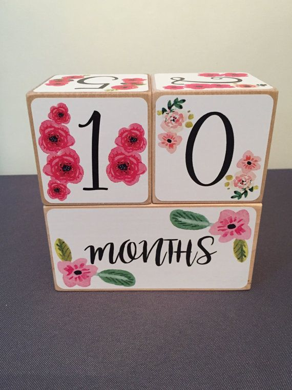 Watercolor Flowers Baby Milestone Blocks by StickEmUpBaby on Etsy #MonthlyBabyPhotos
