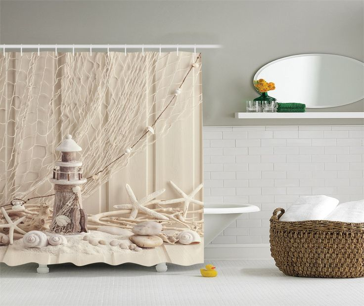 Photos Of Wooden Lighthouse Marine Fishing Net Sea Stars And Shells Picture Bathroom Accessories X Inches By Ambesonne