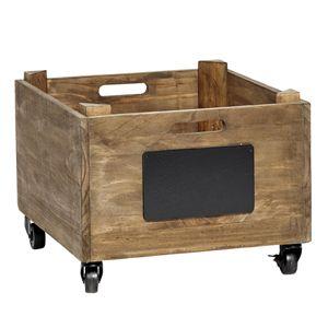 Caisse, porte-revues en bois avec ardoise sur roulettes H�bsch