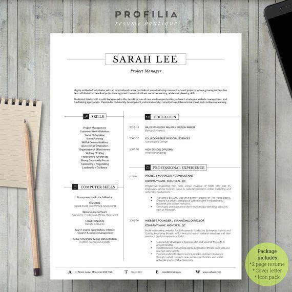 Modern Resume Template - Profilia Resume Boutique on Etsy!  www.profilia,ca