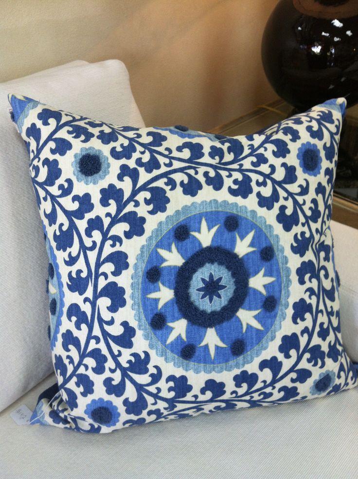 Suzani pillow blue