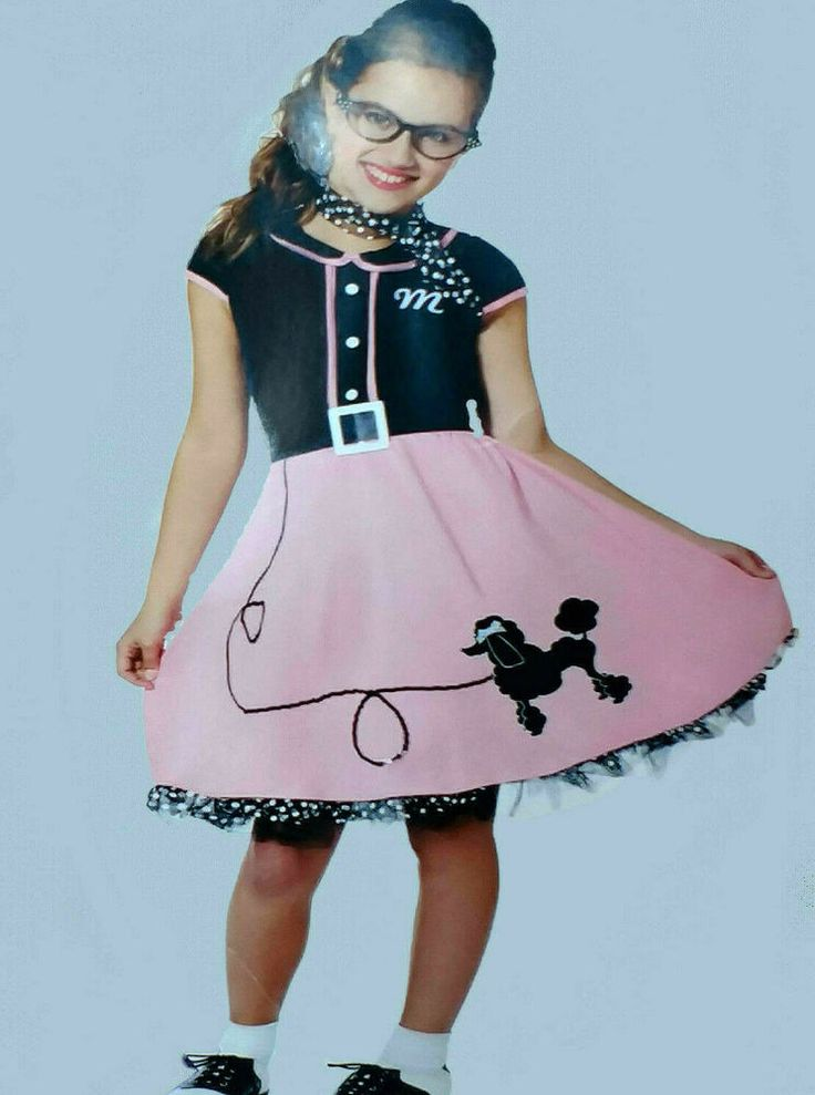 Girls 50s 60s Costume Poodle Skirt Scarf Rock n Roll ...
