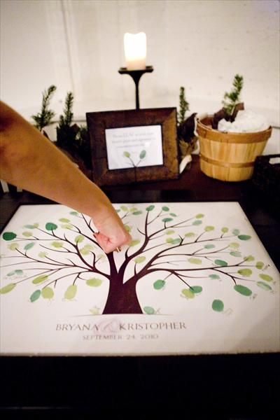 Guests put a thumb print on the tree and sign their name next to it. -- I love this idea for a housewarming, wedding, or anniversary party!  :)