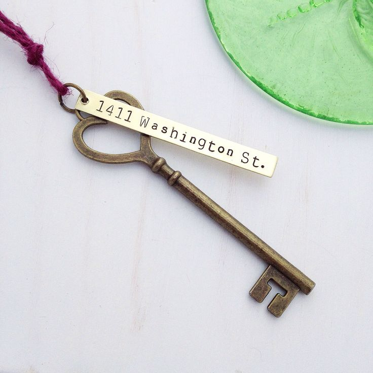 First Home Ornament - Custom Hand Stamped Wedding Skeleton Key - Personalized Housewarming Gift - New House Address Tag - HEART Rustic Brass by BERKLEYandBEAN on Etsy https://www.etsy.com/listing/205877902/first-home-ornament-custom-hand-stamped
