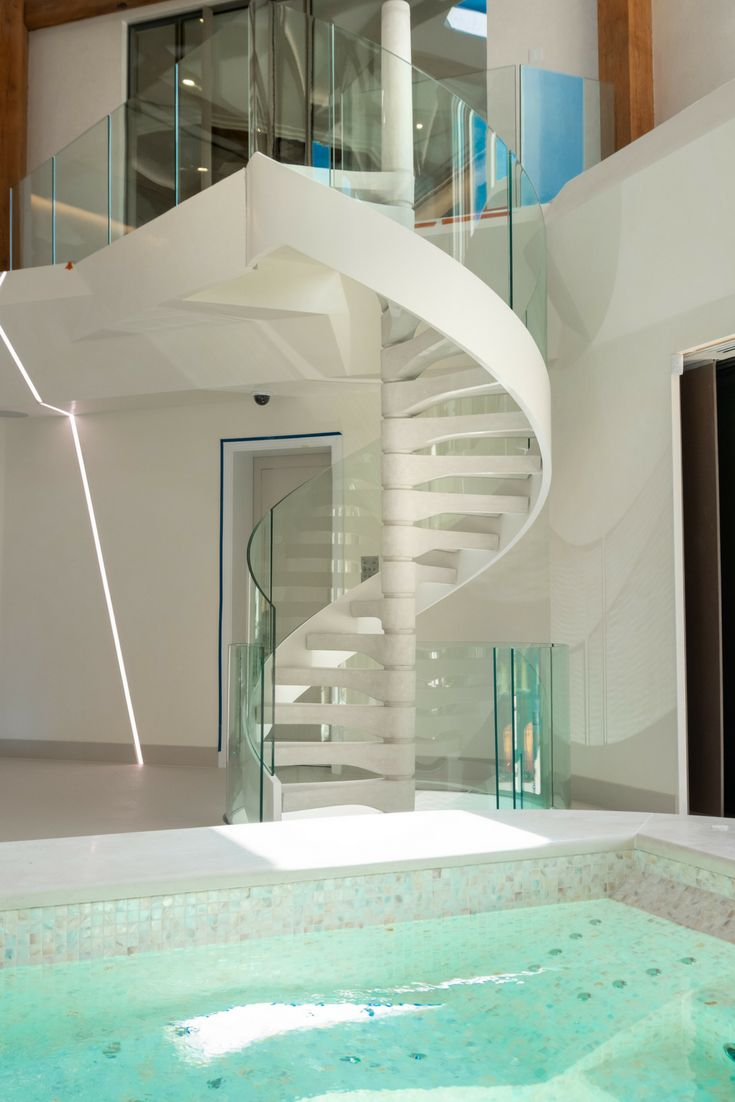 Best A Double Flight Spiral Staircase With Concrete Treads And 400 x 300