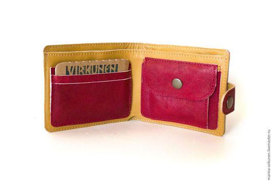 Кошельки и визитницы ручной работы. Заказать Красный женский кошелек  из натуральной кожи