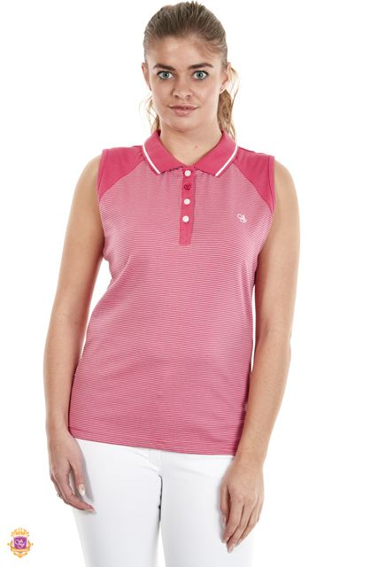 Sherwood Forest Hainstone SF-LE-2937 Deep Coral Jersey/Spandex - Delicate strip, 4 button front & SF embroidery