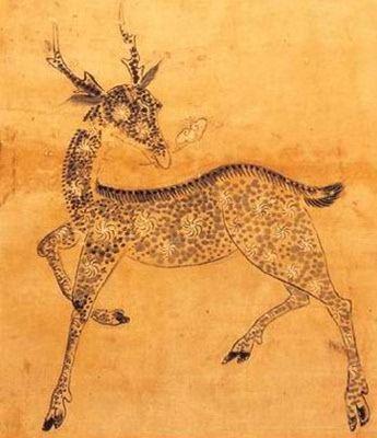 """""""Jangsaeng.hwarakdo"""" - Minhwa style of Korean folk painting from the Joseon Dynasty"""
