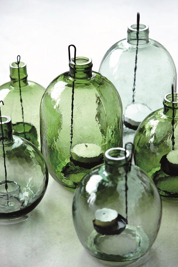 kaarsenhouders - windlicht - glas - groen - House Doctor - candle holders - glass