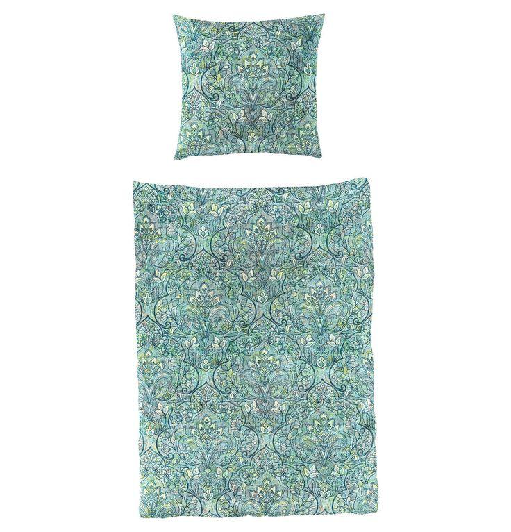 Bettwäschegarnitur, 100% Baumwolle, Mako-Satin, ornamentales Muster