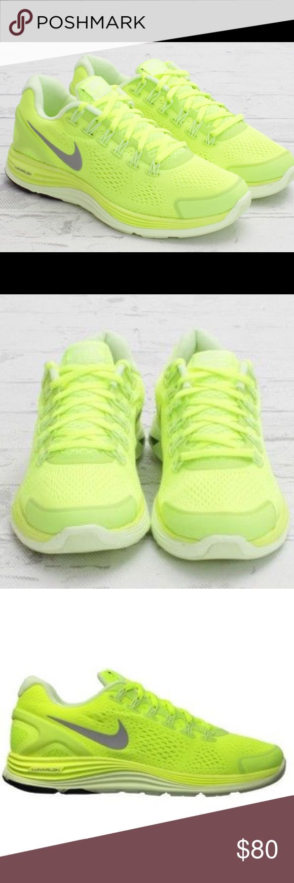 Nike lunarglide 4 volt running shoe neon yellow Women's NIKE® LUNARGLIDE+ 4 :: You'll feel like you're defying gravity when you slip on the women's Nike® LunarGlide+ 4. Enjoy more spring, more cushion and more flex - but even less weight. At only 8.1 ounces, let the LunarGlide lighten your load, whether you're heading out for a leisurely evening run or a quick morning jog. Perfect for daily training, the LunarGlide+ 4 will hug your feet in adaptable and customized comfort, thanks to Flywire…