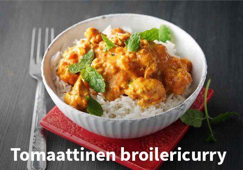 Tomaattinen broileriurry, Resepti: Valio #kauppahalli24 #resepti #curry #broileri