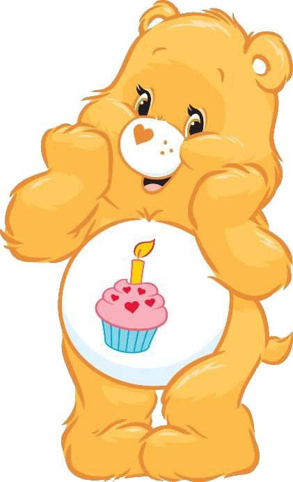 Feliz Aniversario (Birthday Bear): quer que todos tenham um feliz aniversário e adora festas e brincadeiras. Ele é dourado e o símbolo na sua barriga é um bolinho com uma vela