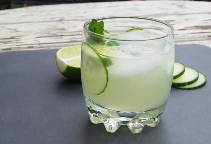 Minted Cucumber and Gin Gimlet Cocktail- substitute diet ginger ale or ginger beer for the simple syrup.