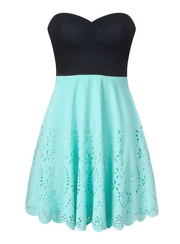 contrast bandeau laser-cut dress