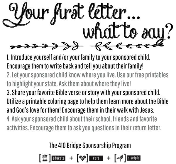 Suggestions on how to write a first letter to your