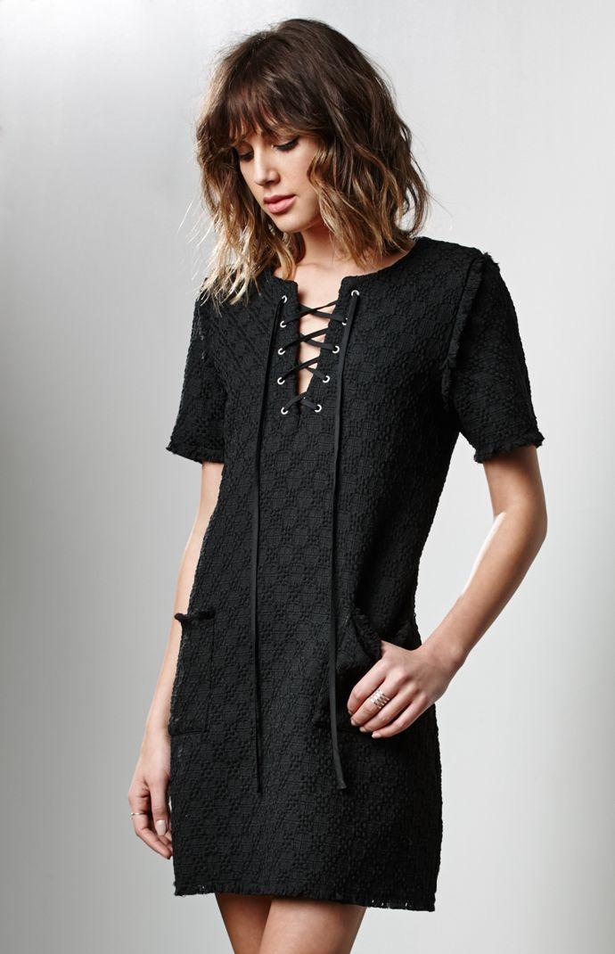 J.O.A lace-up shift dress
