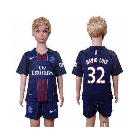 PSG Trøje Børn 16-17 #David Luiz 32 Hjemmebanetrøje Kort ærmer,199,62KR,shirtshopservice@gmail.com