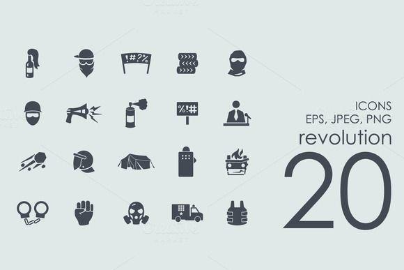 20 revolution icons by Palau on Creative Market