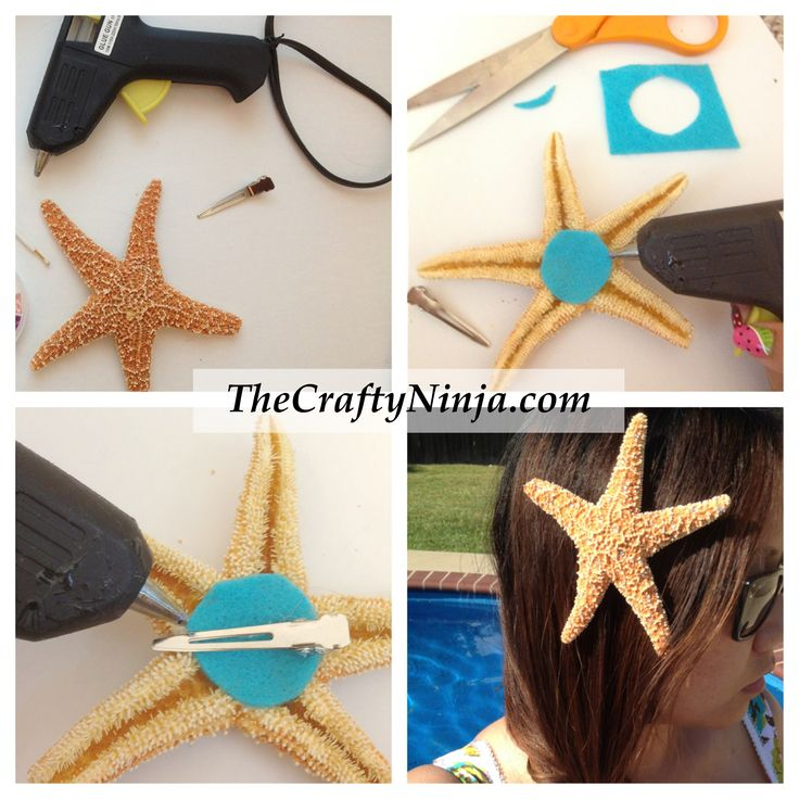 diy starfish hair clip....would have never thought of the felt.  :)