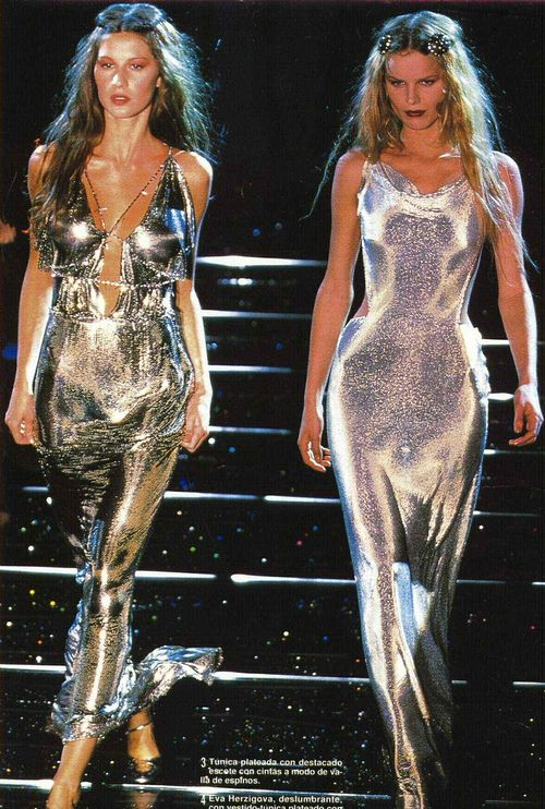 fashion vintage Model 90s gisele bundchen fave runway supermodel 1998 Versace 90s fashion 90's runway with other models
