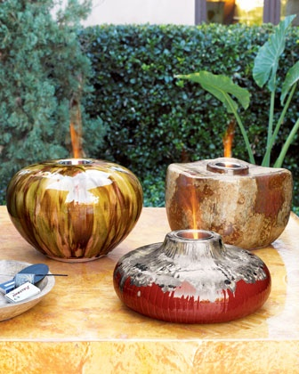 Tabletop Fire Pots At Neiman Marcus.