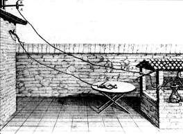 This engraving shows the electrical apparatus of Luigi Galvani used to produce an electric cell with the fluids extracted from the body of a frog.