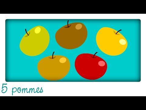 5 pommes dans mon panier (comptine pour apprendre à compter) - YouTube