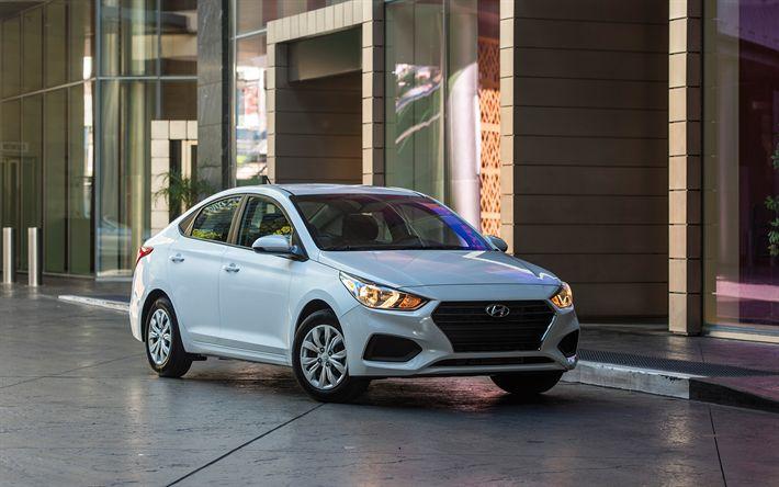 Télécharger fonds d'écran Hyundai Accent, 2018, 4k, blanc berline, la nouvelle blanche Accent, automobile Sud-coréen, Hyundai
