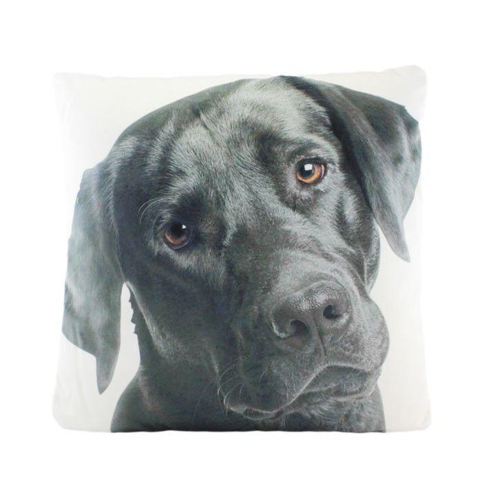Visage Black Labrador Cushion | 44CM dog pet home decor | Yellow Octopus