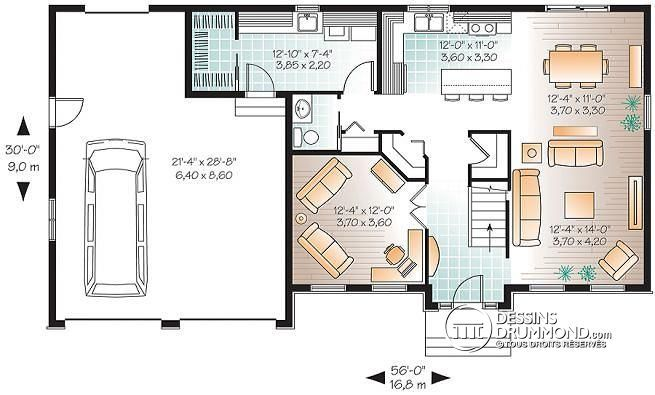 Plan de Rez-de-chaussée Grande maison champêtre 4 chambres, bon prix, garage double, buanderie - Paramount 2