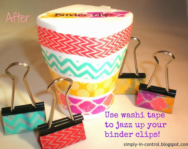 Simply in Control: Using Washi Tape to Decorate Binder Clips + Holder