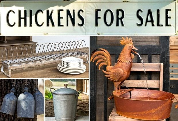 THE HEN HOUSE  Bring some fun and style to – The Hen House – with today's event. Our designers have selected a splendid array of accent décor to assist you in expressing your stylish personality and creativity through your home décor!  Our Folk Art Rooster Fountain will bring style and tranquility; bring style and function to your kitchen with our Compost Bucket; and our Shepherds Bell Chime, Set of 3, Chickens For Sale Sign, and Chicken Feeder Plate Rack return as customer favorites…