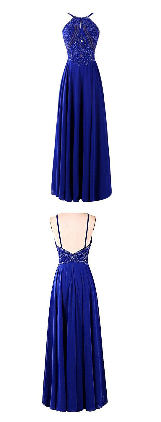 Halter Prom Dress,Beading Prom Dresses,Long Evening Dress