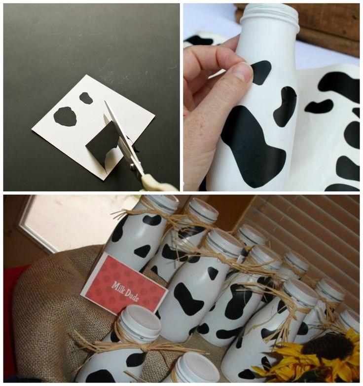Personalizados com print de vaquinha feito com papel contact