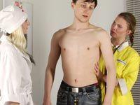 Medical femdom - women milking men, medical CFNM, cfnm handjob, femdom nurse handjob