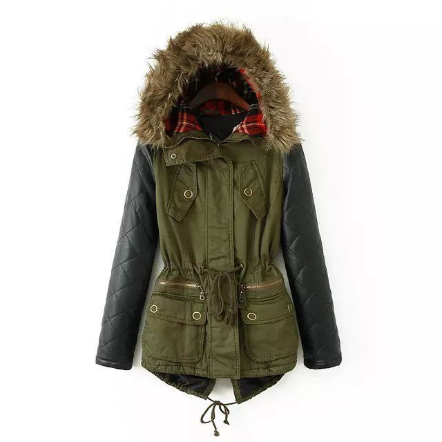 Winter Jacket Women 2017 Parka Plus Size Cotton Padded Coat Fur Hooded Outwear PU Leather Sleeve Winter Coat Women