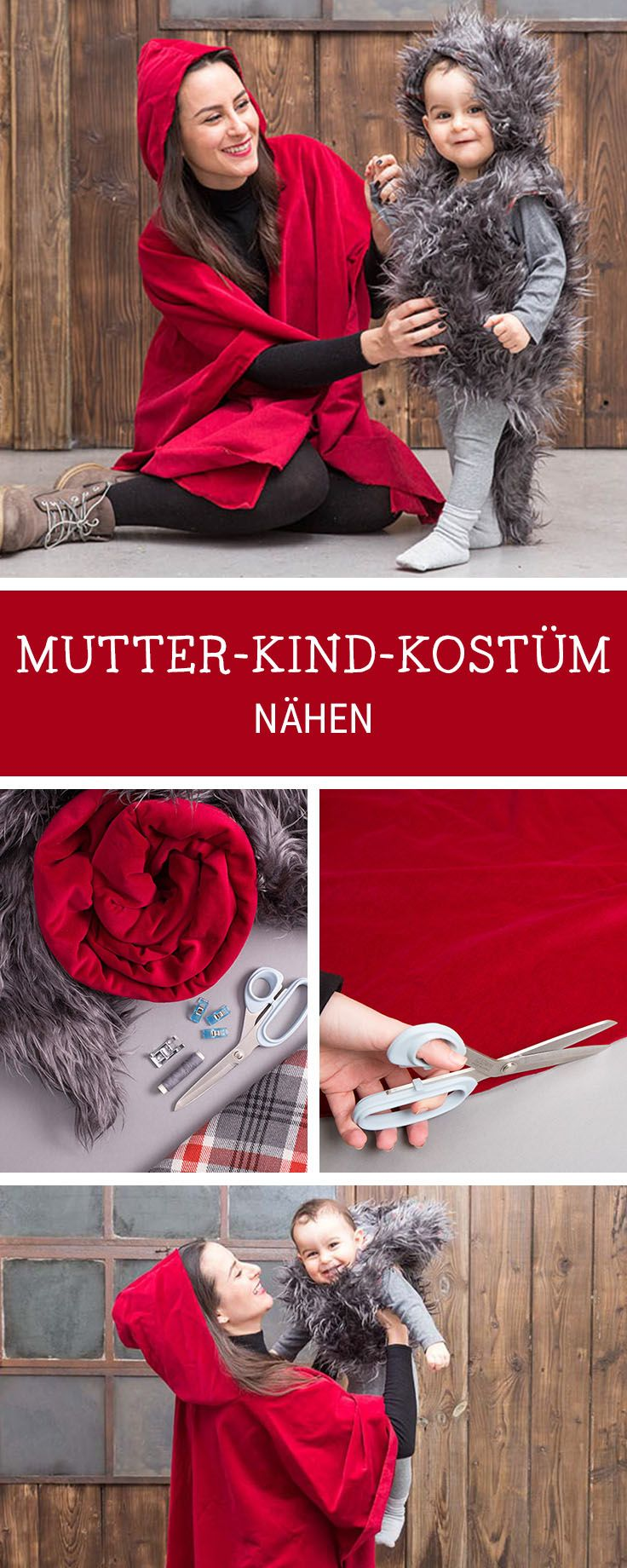 Nähanleitung für ein Mutter-Kind Kostüm / costume idea for mother and child: little red riding hood costume and wolf via DaWanda.com