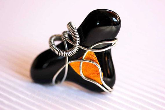 Rope-moulding, Fused glass ring, Handmade, Decorated with wire, Black dichroic  glass ring,Halloween