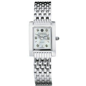 """US Merchant Marine Academy Women's Swiss Watch - Mother of Pearl Quad by M.LaHart & Co.. $489.00. Three-year warranty.. Swiss-made quartz movement with 7 jewels.. Classic American style by M.LaHart. Officially licensed by the US Merchant Marine Academy. Attractive M.LaHart & Co. gift box.. U.S. Merchant Marine Academy women's steel watch featuring USMMA seal at 12 o'clock and """"U.S. Merchant Marine Academy"""" inscribed below on exceptional mother of pearl and diamo..."""