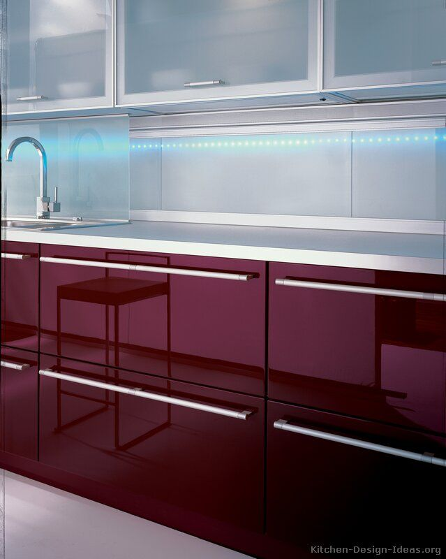 Modern Red Kitchen Cabinets #08 (Alno.com, Kitchen-Design-Ideas.org)..Just like our Alno Kitchen ! : o )
