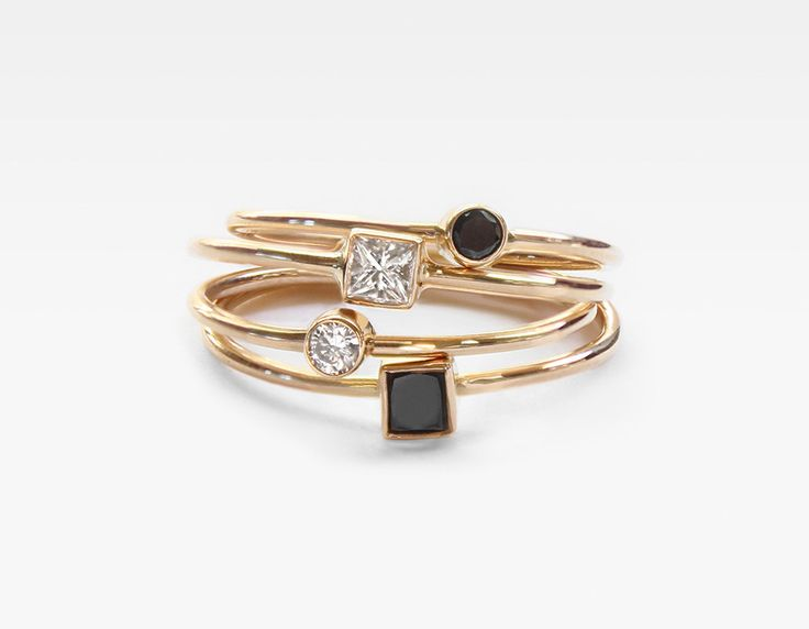 Gold Stacking Rings with Diamonds Square Black Diamond Stacker